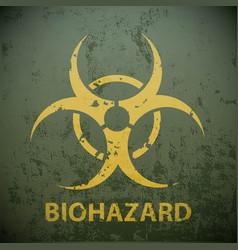 Yellow biohazard symbol on a green military vector
