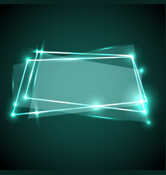 abstract background with green neon banner vector image vector image