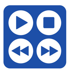 Blue white sign - four music control buttons icon vector