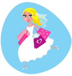 bride with shopping bags vector image vector image
