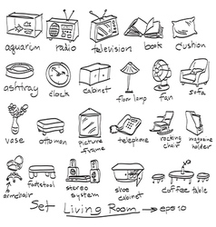 Doodles of objects in garden and living room Vector Image