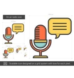 On air radio line icon vector