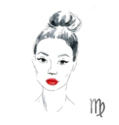 Watercolor Virgo girl vector image