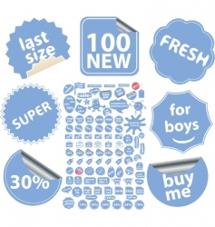 blue stickers vector image vector image