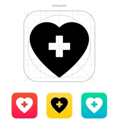 Heart with medical cross icon vector image vector image