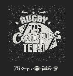 Rugby emblem campus team vector image