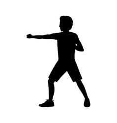 silhouette man martial arts defense position fist vector image