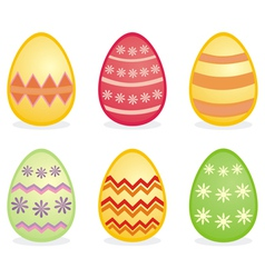Colorful easter eggs isolated on white background vector image vector image