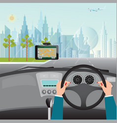 human hands driving a car with gps navigation vector image vector image