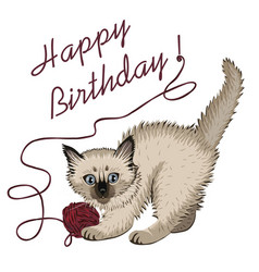 kitten plaing with ball of wool and happy birthday vector image vector image