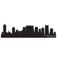 nashville tennessee skyline detailed silhouette vector image vector image