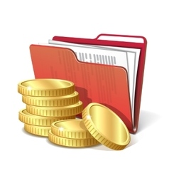 Stack of gold coins next to folder with documents vector image vector image