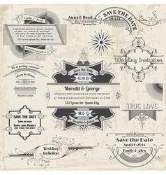Wedding Vintage Invitation Collection vector image vector image