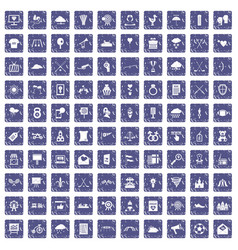 100 arrow icons set grunge sapphire vector image vector image