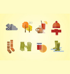 autumn clothes set items the fall tree clouds cold vector image
