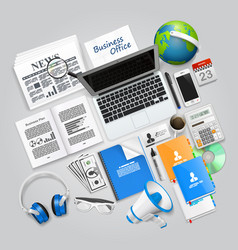 business collage items vector image vector image