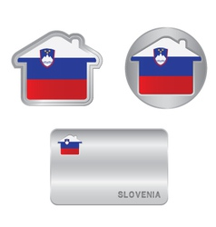 Home icon on the Slovenia flag vector image vector image