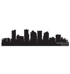phoenix arizona skyline detailed silhouette vector image vector image