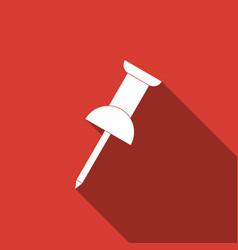 push pin icon with long shadow thumbtacks sign vector image