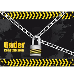 under construction chained with a padlock on grung vector image