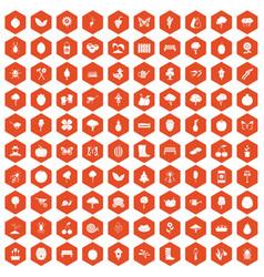 100 gardening icons hexagon orange vector