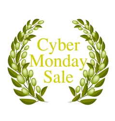 A Beautiful Olive Wreath for Cyber Monday Sale vector image