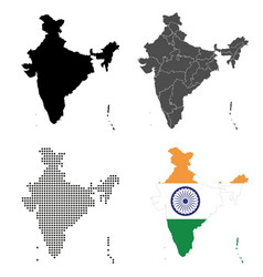 a set detailed accurate maps india vector image