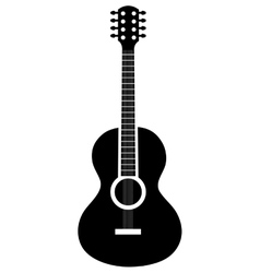 Acoustic guitar icon in black and white colors vector