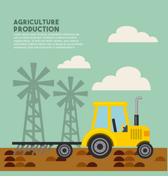 agriculture production landscape icon vector image