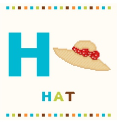 alphabet for children letter h and a hat isolated vector image