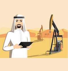 arab man with tablet computer vector image