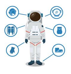 astronaut space suit equipment helmet gloves vector image