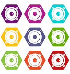 audio speaker icon set color hexahedron vector image