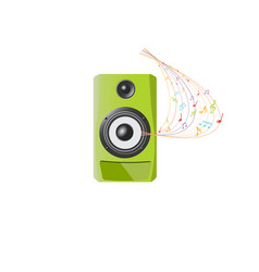 Audio speaker with musical notes on white backgrou vector