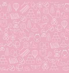 Baby toys seamless pattern on pink background vector