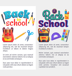 back to school posters set with place for text vector image