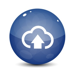 Blue Upload to Cloud Icon vector image