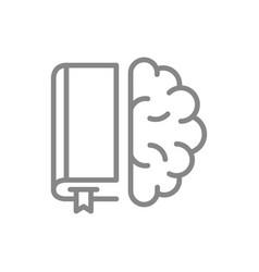 Book with brain line icon encyclopedia education vector