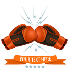 boxing gloves hitting one another logotype design vector image