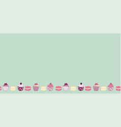 cakes and muffins border pattern design vector image