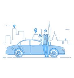 car sharing concept car rental application vector image