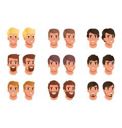 Cartoon set of men avatars with different hair vector