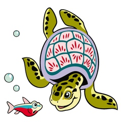 cartoon turtle and fish vector image