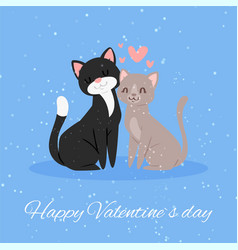 cats in love gift card happy valentines day vector image