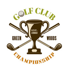 Champion cup and crossed golf sticks emblem vector