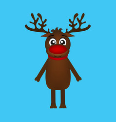 cheerful cartoon reindeer on a blue background vector image