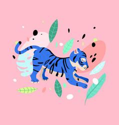 cheerful tiger neon blue tiger vector image