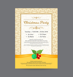 Christmas party invitation postcard with golden vector