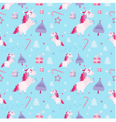 christmas seamless pattern with unicorns fir vector image