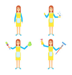 cleaning service woman set vector image